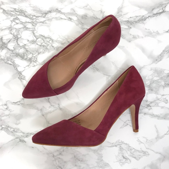 cheap sale to buy popular stores Madewell Mira Suede Midi Heels Burgundy Red Size 6